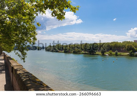 View of the Garonne river in Toulouse - stock photo