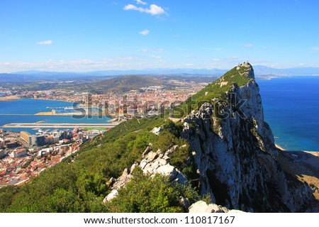 View of the Gibraltar rock from the Upper Rock - stock photo