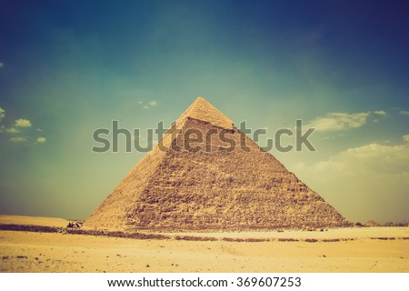 View of the Giza Pyramids. Egypt. Cairo. Filtered image:cross processed vintage effect.  - stock photo