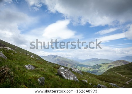 View of the Glen Nevis at Ben Nevis in Scotland, Greatbritain - stock photo