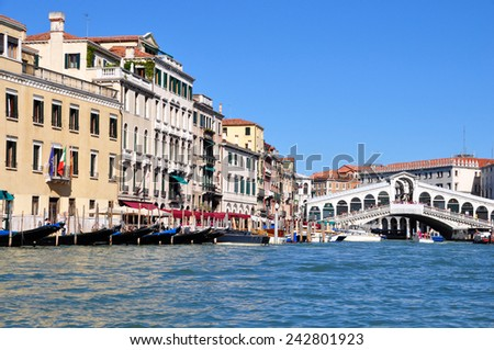 View of the Grand Canal and Rialto Bridge  in Venice, Italy. - stock photo