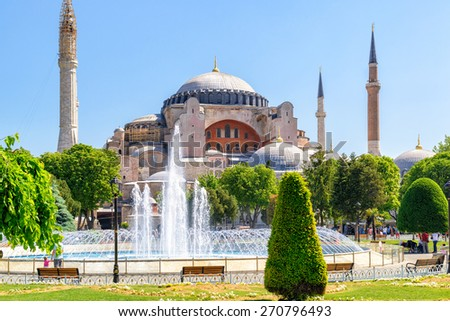 View of the Hagia Sophia in Istanbul, Turkey - stock photo