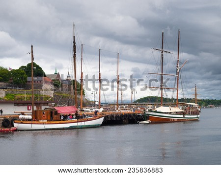 View of the harbor and Akershus Fortress, Oslo - stock photo
