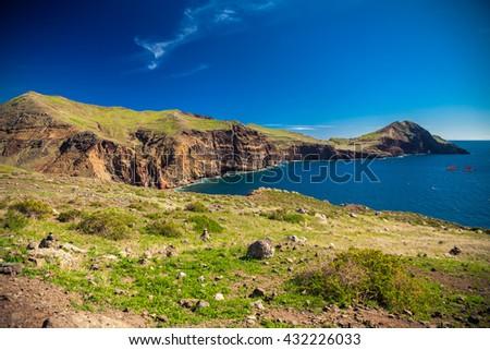 view of the harbor at the Ponta de Sao Lourenco, Madeira - stock photo