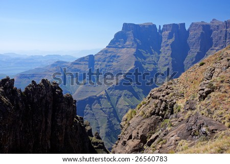View of the high peaks of the Drakensberg mountains, Royal Natal National Park, South Africa - stock photo