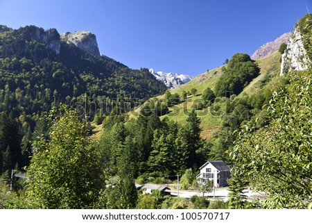 View of the High Pyrenees Mountains in France - stock photo