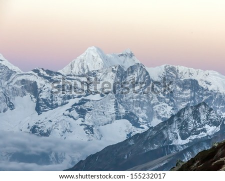 View of the Himalayan peaks before sunrise - Everest region, Nepal - stock photo