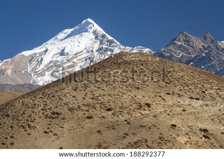 view of the Himalayas from the surrounding villages Jharkot - stock photo