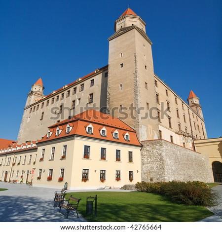 View of the Historic Bratislava Castle, Slovakia. - stock photo