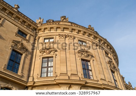 """View of the historic buidling """"Residenz"""" in Wuerzburg in Bavaria - stock photo"""