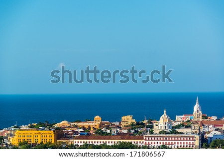 View of the historic center of Cartagena, Colombia with the Caribbean Sea visible in the background - stock photo