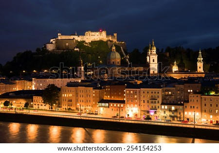 View of the historic city of Salzburg with Hohensalzburg Fortress, Salzburger Land, Austria - stock photo