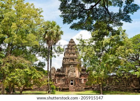 View of the historic Prasat Hin Phimai Castle at Nakhon Ratchasima, Thailand. The Khmer Castle were built during the Angkor period and marked the northern reaches of the realm. - stock photo