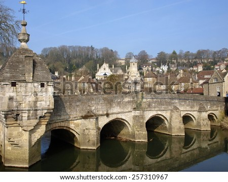View of the Historic Town Packhorse Bridge in Bradford on Avon in Wiltshire England - stock photo