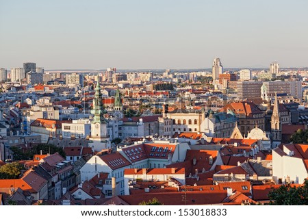 View of the historical center of Bratislava from the hill, Slovakia - stock photo