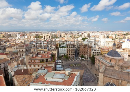 View of the historical center of Valencia, Spain - stock photo