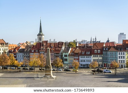 view of the historical city centre of Erfurt, Germany - stock photo