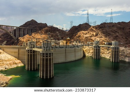 View of the Hoover Dam complex power station. - stock photo