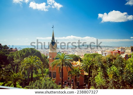 View of the house - museum of Antoni Gaudi in Park Guell - stock photo