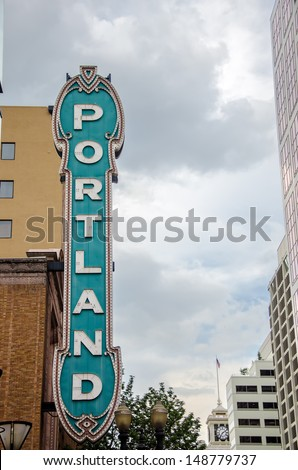 View of the iconic Portland sign in downtown Portland, Oregon - stock photo