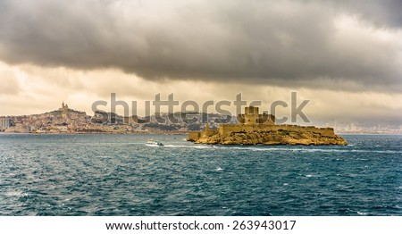View of the If castle in the Mediterranean sea - France - stock photo