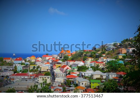 View of the island Grenada, St. George's, Caribbean - stock photo
