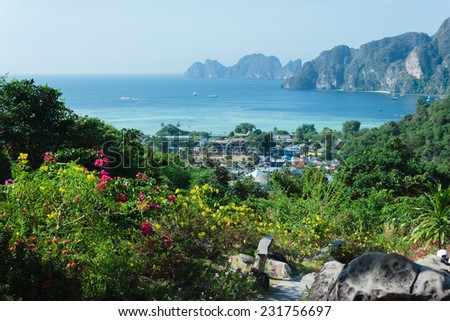 View of the island  Phi Phi Don  from the viewing point,  South of Thailand. - stock photo