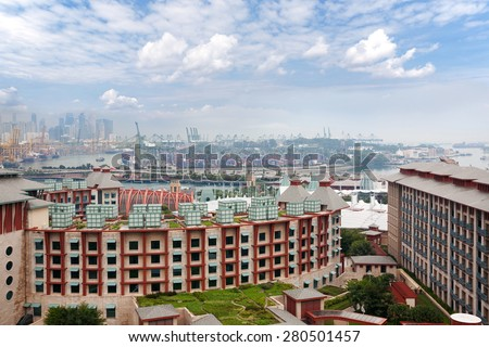View of the island Sentosa and commercial port of Singapore with a bird's-eye view. - stock photo