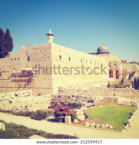 View of the Jerusalem Archaeological Park, Instagram Effect - stock photo