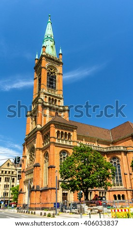 View of the Johanneskirche Church in Dusseldorf, Germany - stock photo
