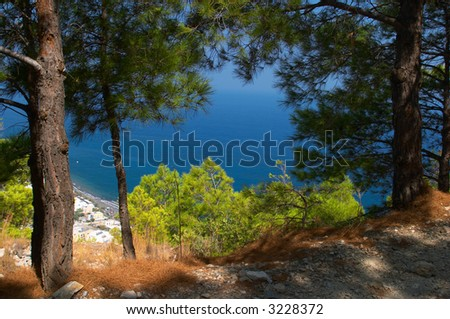 view of the Kamari beach Oia Santorini Greece - stock photo