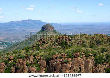 View of the karoo from the valley of desolation near Graaff-Reinet in South Africa - stock photo