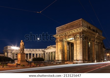View of the Kazan Cathedral and the monument to General Barclay de Tolly. Night photography at the slow shutter speeds. St. Petersburg, Russia. - stock photo