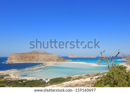 View of the lagoon Ballos(Balos) and the island Gramvousa, Crete, Greece   - stock photo