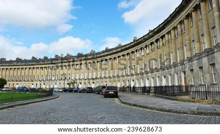 View of the Landmark Royal Crescent in the City of Bath in Somerset England - stock photo
