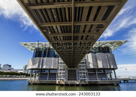 View of the largest indoor aquarium in Europe, located in Lisbon, Portugal. - stock photo