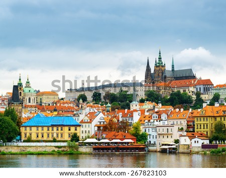View of the Lesser Town (Little Quarter) and Castle District (Hradcany) in Prague, Czech Republic. - stock photo