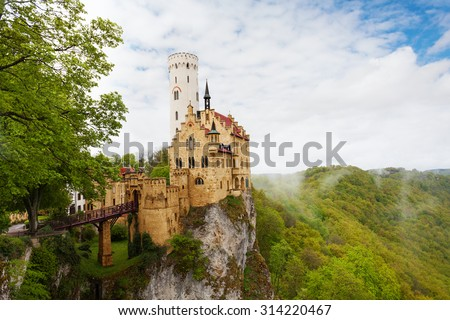 View of the Lichtenstein Germany castle in clouds - stock photo