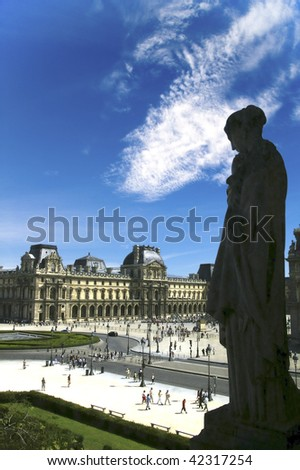 view of the Louvre Museum in paris - stock photo