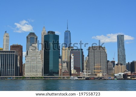 View of the Lower Manhattan skyline and the East River. - stock photo