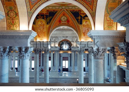 View of the magnificent interior of the Congress Library, Washington DC - stock photo
