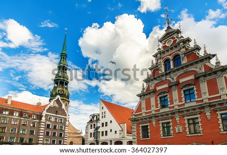 view of the main buildings at the City Hall Square in Riga, Latvia - stock photo