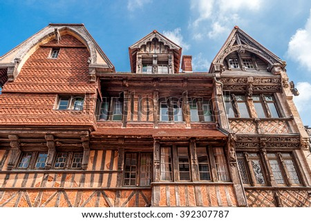 View of the Manoir de la Salamandre, a historic, lordly Tudor style house in Etretat, Normandy, France - stock photo