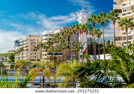 View of the Marbella resort city. Province of Malaga, Andalusia, Costa del Sol. Southern Spain - stock photo