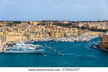 View of the marina in Valletta - Malta - stock photo
