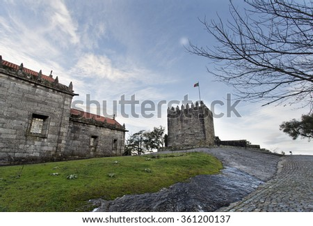 View of the medieval castle built on top of Mount Pilar in Povoa de Lanhoso, Portugal - stock photo