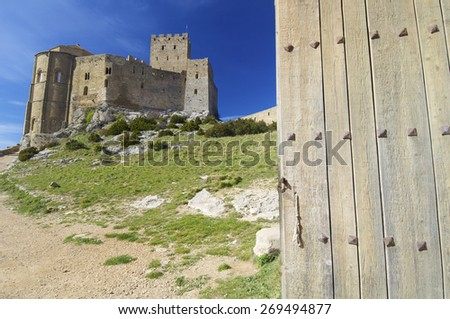 view of the medieval castle Loarre, Aragon, Spain. - stock photo
