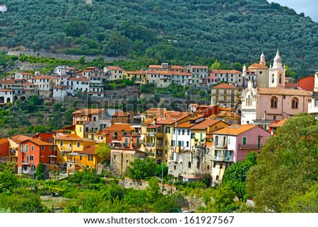 View of the Medieval City in Italian Alps - stock photo