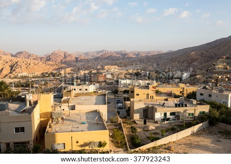 View of the modern city next to old city Petra, Jordan - stock photo