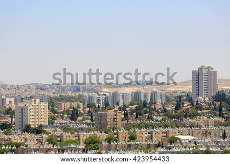 View of the modern tall houses in Beersheba at far distance - stock photo